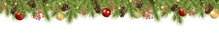 vector seamless background concept with fir branches and cones, golden star garlands and hanging red, golden and green christmas baubles and fall of snow