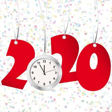 rote Zahlen, die Neujahr 2020 mit silberner Uhr und Konfettihintergrund zeigen Vektorgrafik