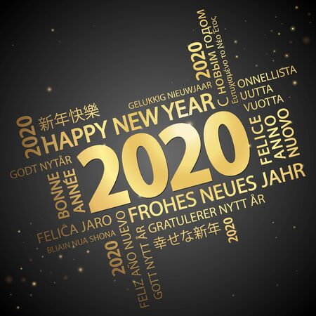 Wortwolke mit Neujahrsgrüßen 2020 in Gold und schwarzem Hintergrund