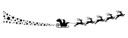 Santa Claus with sled, reindeers and some snow flakes isolated on white background