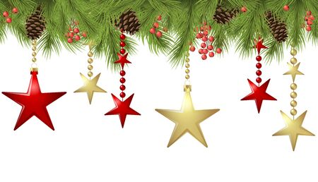 vector seamless background concept with fir branches and bones and hanging red and golden christmas stars