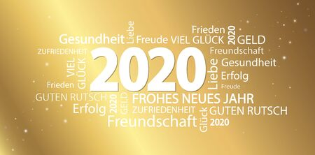 word cloud with new year 2020 greetings and golden background