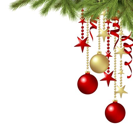 vector hanging christmas baubles background concept with fir branches, stars and streamers and free space for text