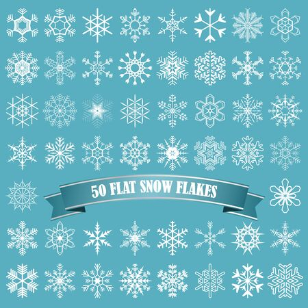 collection of different abstract snow flakes for christmas and winter time Illusztráció