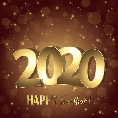 Frohes neues Jahr 2020 Grüße mit goldenen Zahlen und braunem Hintergrund