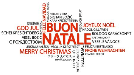 Word cloud with text Merry Christmas in different languages, in the middle one oversized and bold written in Italian