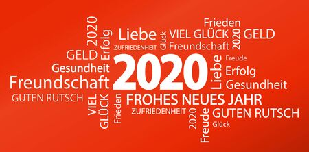 word cloud with new year 2020 greetings and red background Illusztráció