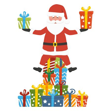 christmas concept with Santa Claus sitting on and holding some colored gifts, isolated on white background for christmas time greetings  イラスト・ベクター素材