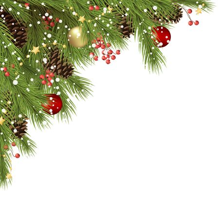vector background concept with decorated green fir branches and cones with christmas bauble, stars and red berries, fall of snow and free space for text