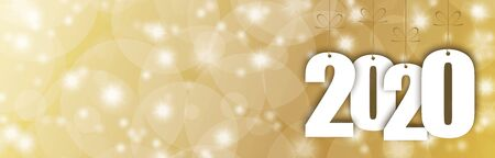 Panorama-Banner-Hintergrund mit Schneefall, Lichteffekten und Grüßen für Weihnachten und Neujahr 2020