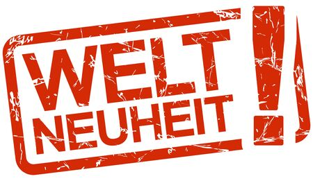 grunge stamp with frame colored red and text Weltneuheit