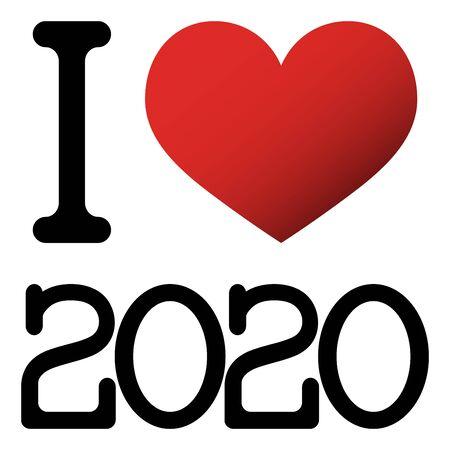 Ich liebe Neujahrsgrüße 2020 mit rotem Herzen