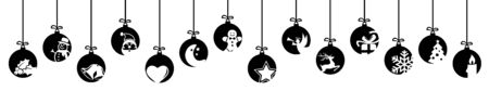 collection of hanging baubles colored black with different abstract icons for christmas and winter time concepts  イラスト・ベクター素材