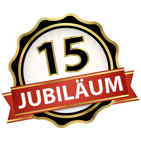 Jubilee button with banner for 15 years (text in german) Illustration