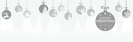 hanging baubles colored gray with different abstract icons for christmas and winter time concepts, snow flakes on top side and greetings for christmas and New Year