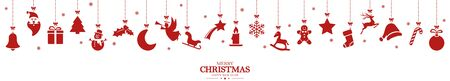 different abstract hanging icons colored red for christmas and winter time concepts with Christmas and New Year greetings