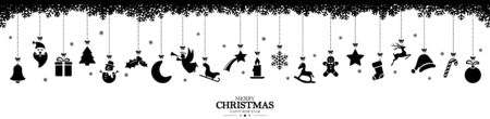 different abstract hanging icons colored black for christmas and winter time concepts, snow flakes on top side and Christmas and New Year greetings