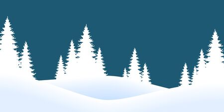 vector file showing christmas time nature landscape background with snow fields, firs and colored background