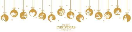 hanging baubles colored gold with different abstract icons for christmas and winter time concepts and greetings for christmas and New Year