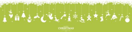 different abstract hanging icons colored white for christmas and winter time concepts, snow flakes on top side and Christmas and New Year greetings Ilustração