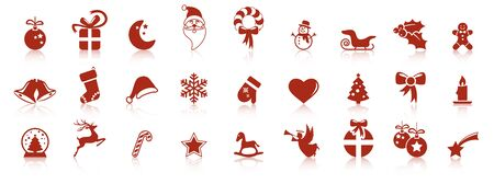 collection of different abstract icons with reflections for christmas and winter time concepts  イラスト・ベクター素材