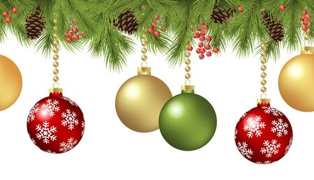 vector seamless background concept with fir branches and bones and hanging red and golden christmas baubles Stock Illustratie
