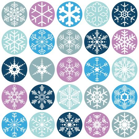collection of different abstract snow flakes for christmas and winter time concepts