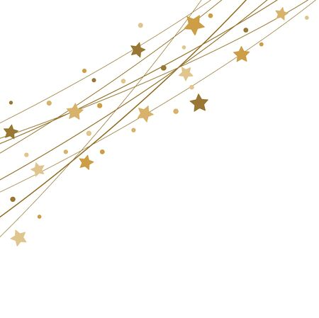 EPS 10 vector file showing stars on strings background for christmas time colored gold for xmas and new year concepts Foto de archivo - 134810565
