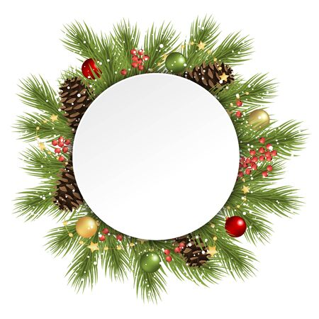 Fir branches and cones and christmas balls behind empty round frame for christmas winter greetings on white background