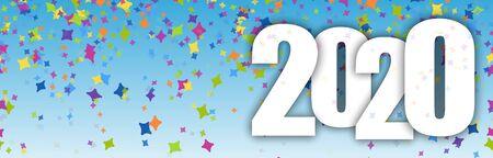 blauer panoramabannerhintergrund mit farbigem konfetti für die neujahrsparty 2020