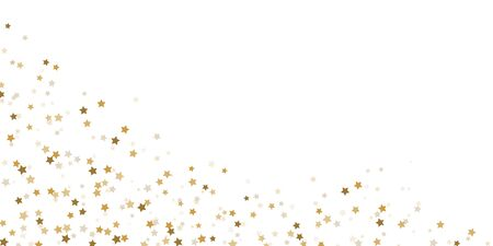 EPS 10 vector file showing seamless falling confetti snow stars bottom left corner background for christmas time colored gold for xmas and new year concepts