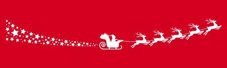weißer Weihnachtsmann mit Schlitten, Rentieren und einigen Schneeflocken einzeln auf farbigem Hintergrund Vektorgrafik