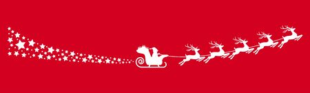 white Santa Claus with sled, reindeers and some snow flakes isolated on colored background Ilustração