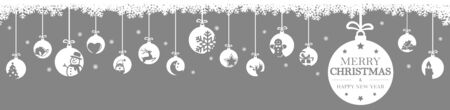 hanging baubles colored white with different abstract icons for christmas and winter time concepts, snow flakes on top side and greetings for christmas and New Year with colored background Archivio Fotografico - 134977873