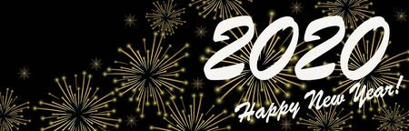 golden colored fireworks panorama concept for New Year 2020 greetings with black background