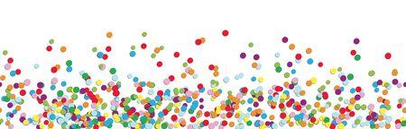 illustration vectorielle panoramique de confettis de différentes couleurs avec un espace blanc gratuit pour le texte pour le carnaval, le sylvestre ou l'heure de la fête sur fond blanc Vecteurs