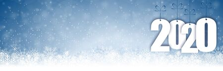 EPS 10 panorama banner background with snow fall, light effects and greetings for christmas and New Year 2020