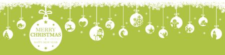 hanging baubles colored white with different abstract icons for christmas and winter time concepts, snow flakes on top side and greetings for christmas and New Year with colored background Ilustracja