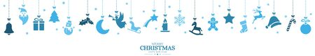 different abstract hanging icons colored blue for christmas and winter time concepts with Christmas and New Year greetings