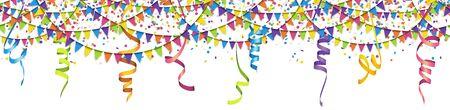 EPS 10-Vektor-Illustration von nahtlosen farbigen Girlanden, Luftschlangen und Konfetti auf weißem Hintergrund für die Verwendung von Sylvester-Party- oder Karnevalsvorlagen Vektorgrafik