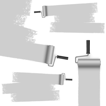 EPS 10 vector illustration isolated on white background with paint rollers and painted markings colored gray