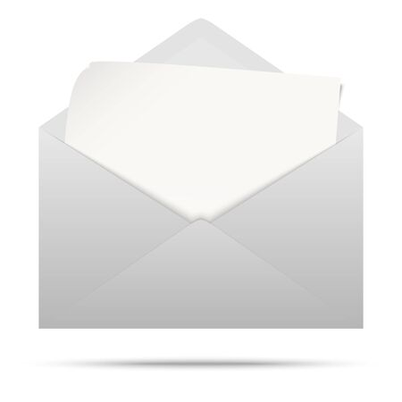 vector illustration with gray colored envelope with white empty paper isolated on white background Vektorové ilustrace