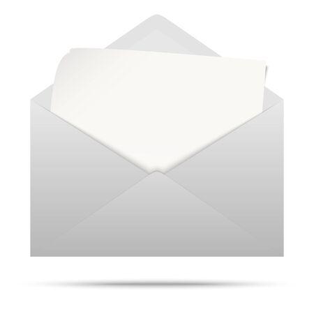 vectorillustratie met grijs gekleurde envelop met wit leeg papier geïsoleerd op een witte achtergrond Vector Illustratie