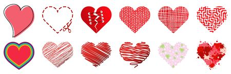 EPS vector collection of different hearts symbolizing love, for valentine time