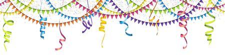 Ilustración vectorial de confeti, guirnaldas y serpentinas de colores transparentes sobre fondo blanco para uso de fiesta o carnaval