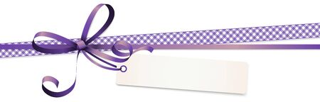EPS 10 vector illustration of purple colored ribbon bow and gift band with pendant isolated on white background