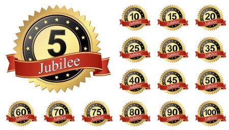 illustration vectorielle du bouton Jubilee avec collection de bannières 5 à 100 ans