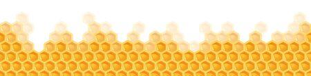 vector illustrating colorful yellow seamless honey comb background Ilustração