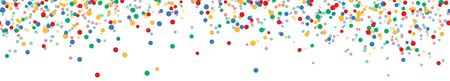 seamless vector panorama illustration of confetti with four colors with free white space for text for carnival, sylvester or party time on white background