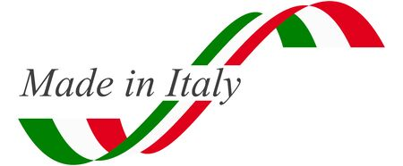 illustration of seal of quality with national colors and text MADE IN ITALY